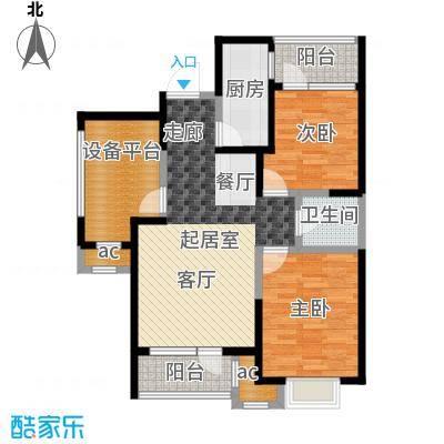 阳光100国际新城89.00㎡B户型 三室两厅一卫户型3室2厅1卫