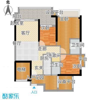 锦绣国际花城102.00㎡三期102平米B户型3室2厅2卫