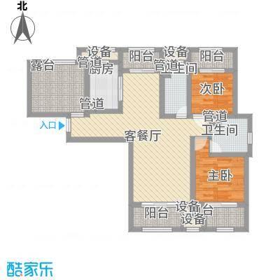 星光耀广场B1户型两房两厅两卫 建筑面积约120㎡户型