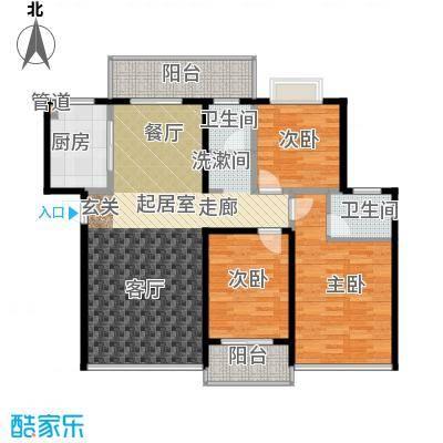 苏仙御溪园115.80㎡B户型 三房二厅二卫户型3室2厅2卫