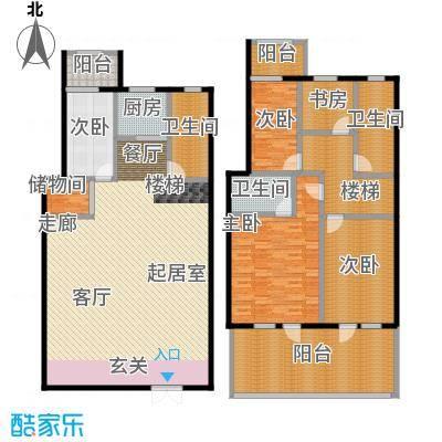 绿江太湖城金色水岸221.29㎡H户型:跃层户型