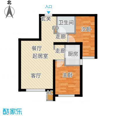 中铁万科香湖盛景75.00㎡两室两厅一卫户型2室2厅1卫QQ