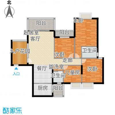 金河铭庄155.85㎡四室两厅一厨两卫户型4室2厅2卫