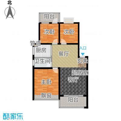 苏仙御溪园98.60㎡A户型 三房两厅一卫户型3室2厅1卫