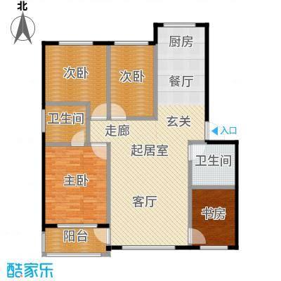 绿江太湖城黄金水岸124.00㎡14,15号楼户型4室2厅2卫