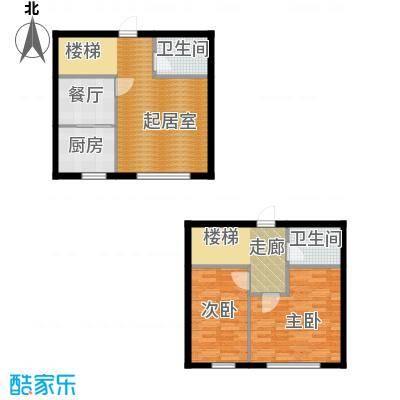 华溪龙城二期104.14㎡B2复式户型两室一厅一卫户型2室1厅1卫