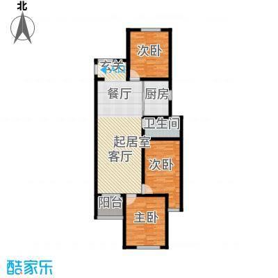 京东紫晶105.00㎡C户型3室1卫1厨