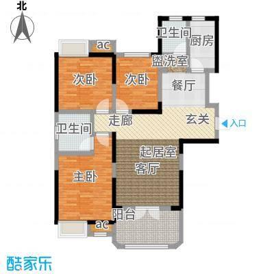 锦绣城118.93㎡D1户型6、7号楼户型3室2厅2卫