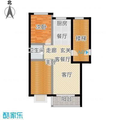 俪城83.00㎡两室两厅一卫户型