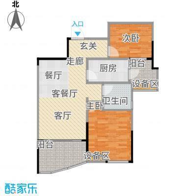 碧桂园温泉城79.23㎡柏林二期高层洋房J417户型D户型2室2厅1卫