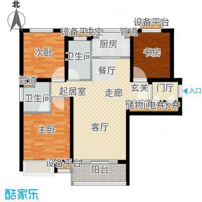 中电蓝色港湾108.50㎡A户型 3室2厅2卫 108.5平户型3室2厅2卫