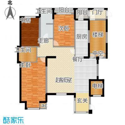 万科沈抚新城金域蓝湾149.00㎡电梯洋房 149平米 三室两厅两卫户型3室2厅2卫