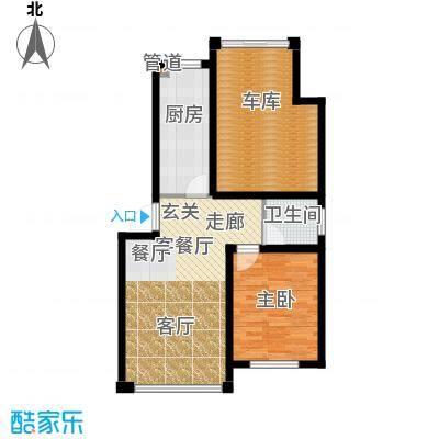 千禧名仕63.20㎡千禧名仕 户型图A3j 面积63.2平方米户型1室1厅1卫