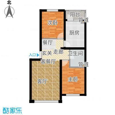 千禧名仕84.26㎡千禧名仕 户型图A2-1 面积84.26平方米户型2室2厅1卫