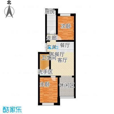 桃源水榭・叠萃两室两厅一卫户型