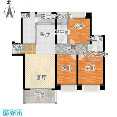 宁德万达广场136.00㎡K户型 三房两厅两卫 136㎡户型3室2厅2卫
