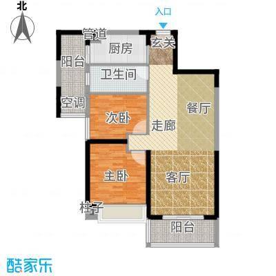 宁德万达广场88.00㎡B户型 两房两厅一卫 88㎡户型2室2厅1卫