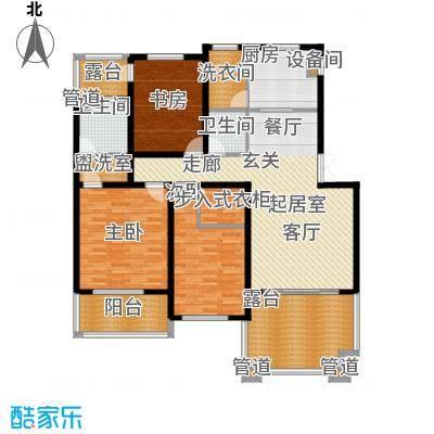 锦绣澜湾188.00㎡D户型三室二厅二卫户型3室2厅2卫