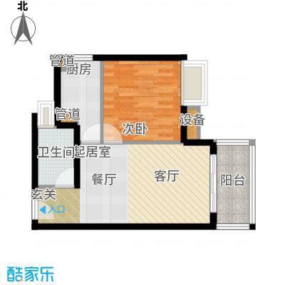 四季公寓56.87㎡D户型1室1厅1卫