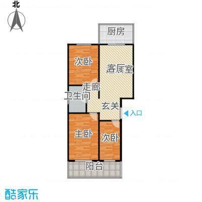 龙城尚都101.35㎡E户型 三室一厅一卫 101.35平米户型3室1厅1卫