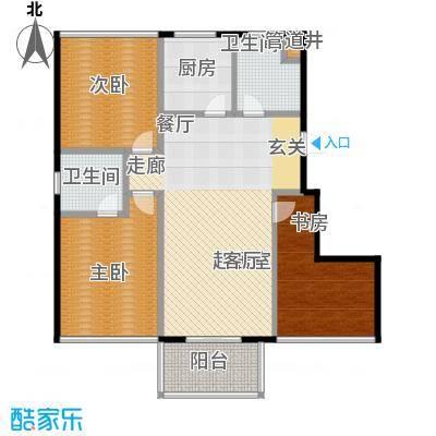 新港清华苑户型3室2卫1厨