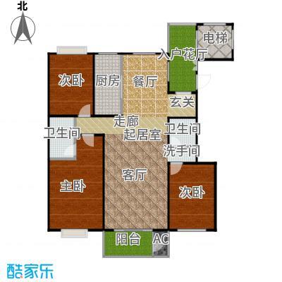 太原香颂137.96㎡12号楼W户型 三室两厅两卫 137.96平米户型3室2厅2卫