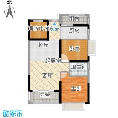 锦绣国际花城81.96㎡7幢5-15层01单元户型1室1卫1厨