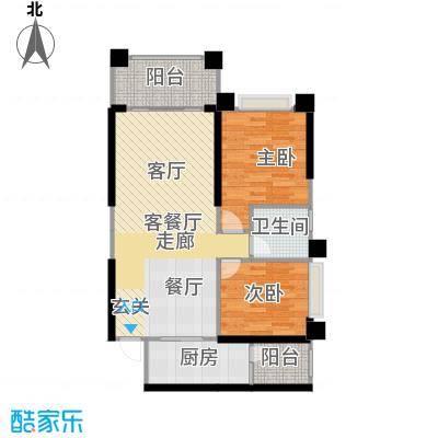 敏捷绿湖国际城80.00㎡02、04、08、15栋05单位户型2室2厅1卫