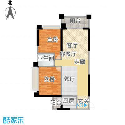 敏捷绿湖国际城84.00㎡02、04、08、15栋04单位户型2室2厅1卫