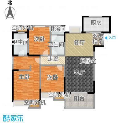 九龙仓玺园139.00㎡139平三室两厅两卫户型3室2厅2卫
