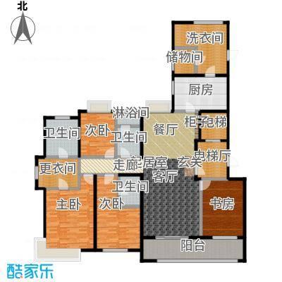 九龙仓玺园205.00㎡205平 4+1室2厅3卫户型5室2厅3卫