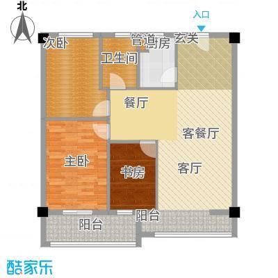 新城国际100.22㎡三室两厅一厨一卫户型3室2厅1卫