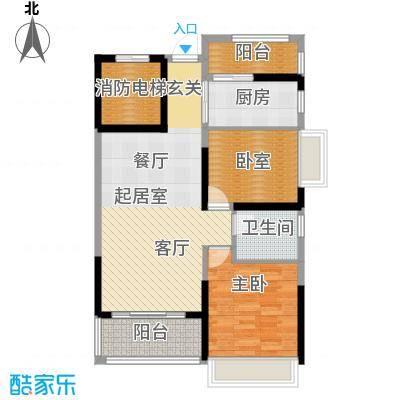 锦绣国际花城82.36㎡8幢5-14层01单元户型1室1卫1厨