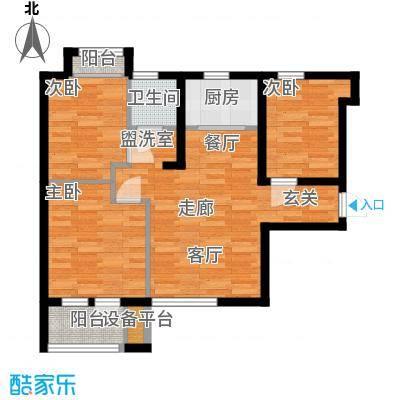 锦绣天地83.58㎡6#7#A户型3室2厅1卫