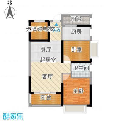 锦绣国际花城82.49㎡5幢5-15层01单元户型1室1卫1厨