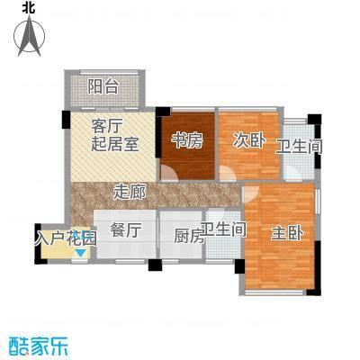 冠亚国际星城107.68㎡最新户型3室2厅2卫