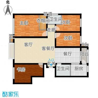 银湖馨苑155.00㎡F户型155平四室两厅两卫(高层)户型4室2厅2卫