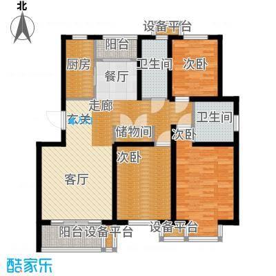维多利金色华府118.82㎡三室二厅二卫户型
