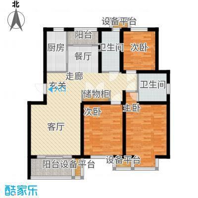 维多利金色华府118.82㎡三室两厅两卫户型
