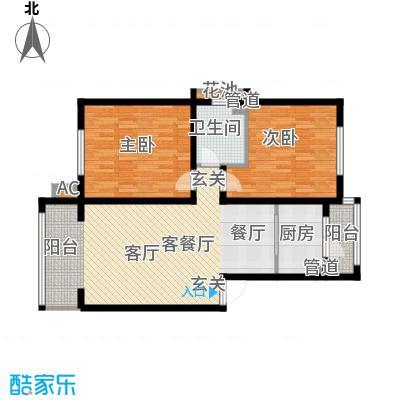 银湖馨苑91.00㎡B型91平两室两厅一卫户型2室2厅1卫