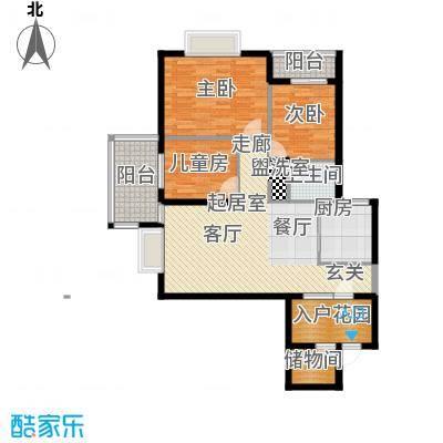 金河铭庄112.17㎡三室两厅一厨一卫户型3室2厅1卫