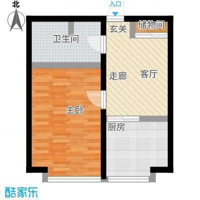 世界温泉部落47.54㎡一室一厅一卫户型