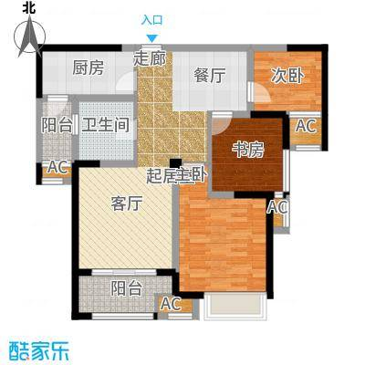融侨观邸88.24㎡30#B1户型3室2厅1卫