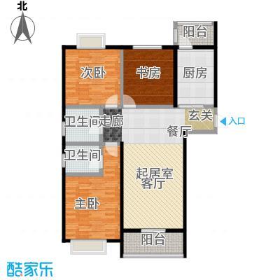 七里香格庄园123.92㎡高层A户型3室2厅2卫