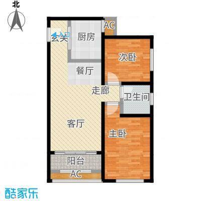 香榭水岸A户型71平米两室两厅一卫户型LL