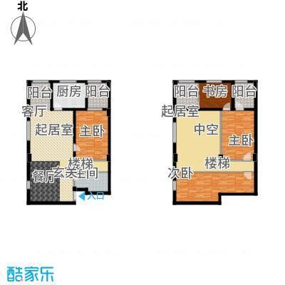 蓝湾华府4.75米挑高复式92平买一层送一层户型3室2厅1卫