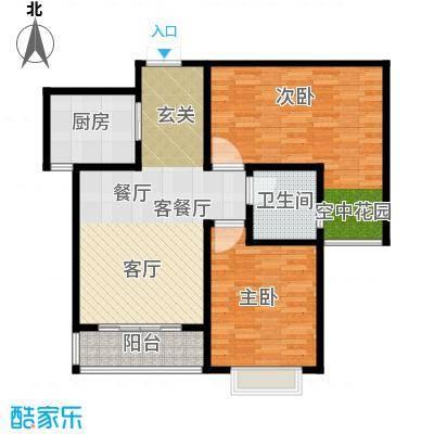 玫瑰湾86.90㎡4号楼b户型2室1厅1卫1厨