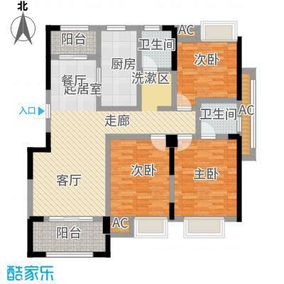 星海湾1号130.00㎡3#D户型 建筑面积约130㎡ 三房两厅两卫两阳台户型3室2厅2卫