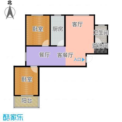 东泽园2室2厅1卫 92.95平米户型2室2厅1卫