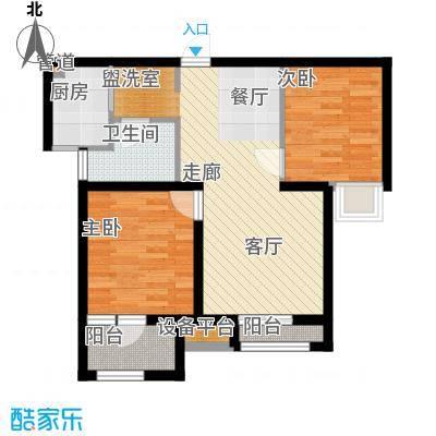 锦绣天地76.77㎡15#B户型2室2厅1卫